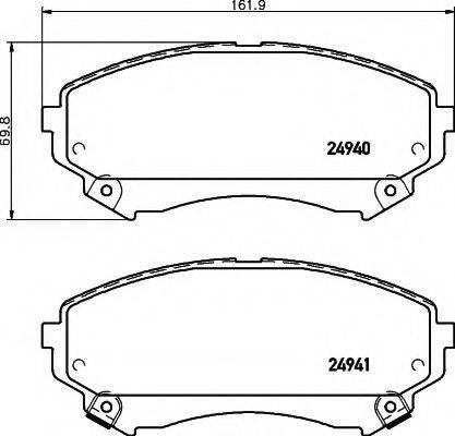 HELLA 8DB355015141 Комплект тормозных колодок, дисковый тормоз