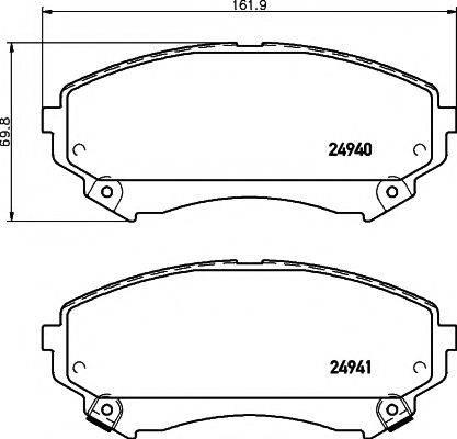 MINTEX MDB3080 Комплект тормозных колодок, дисковый тормоз
